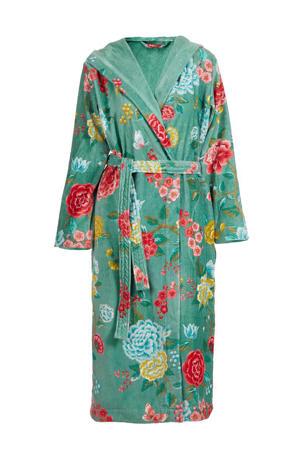 velours badjas met capuchon groen