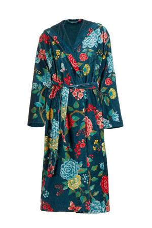 velours badjas met capuchon donkerblauw