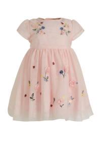 C&A Baby Club A-lijn jurk met all over print en borduursels lichtroze, Lichtroze