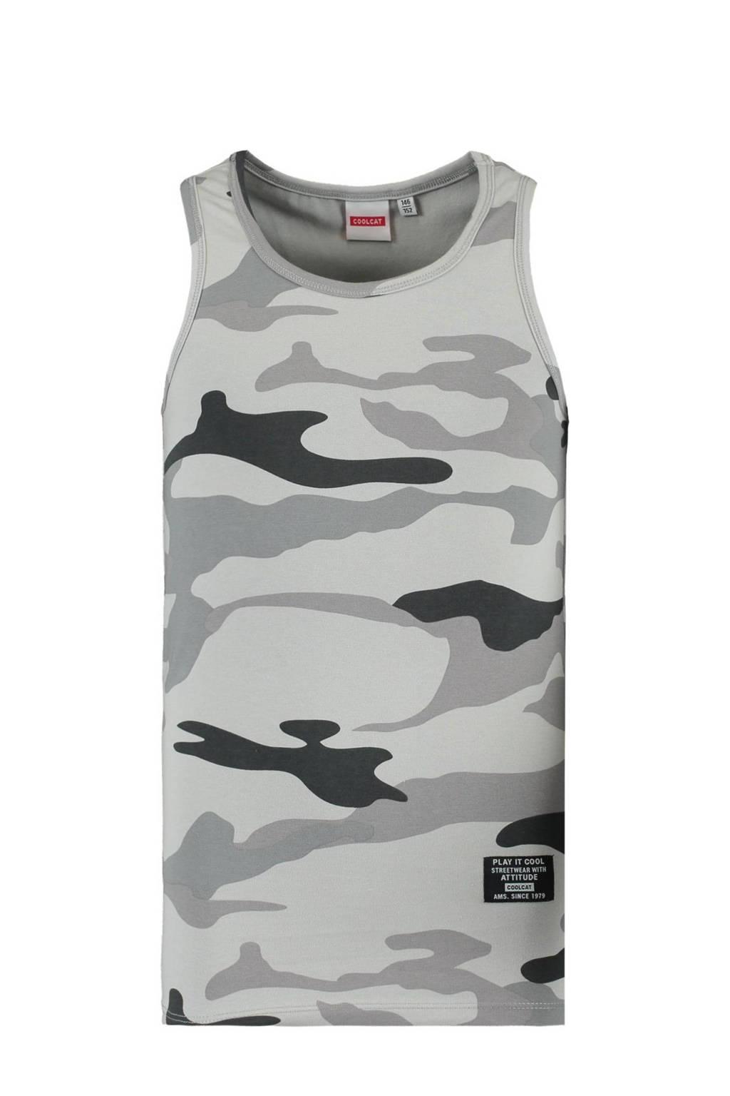 CoolCat Junior singlet Gio met camouflageprint grijs, Grijs