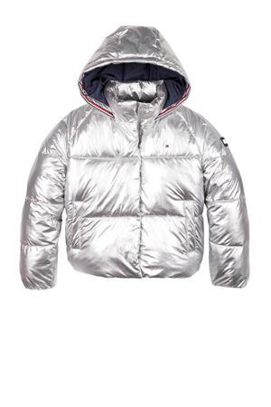 gewatteerde winterjas met logo zilver