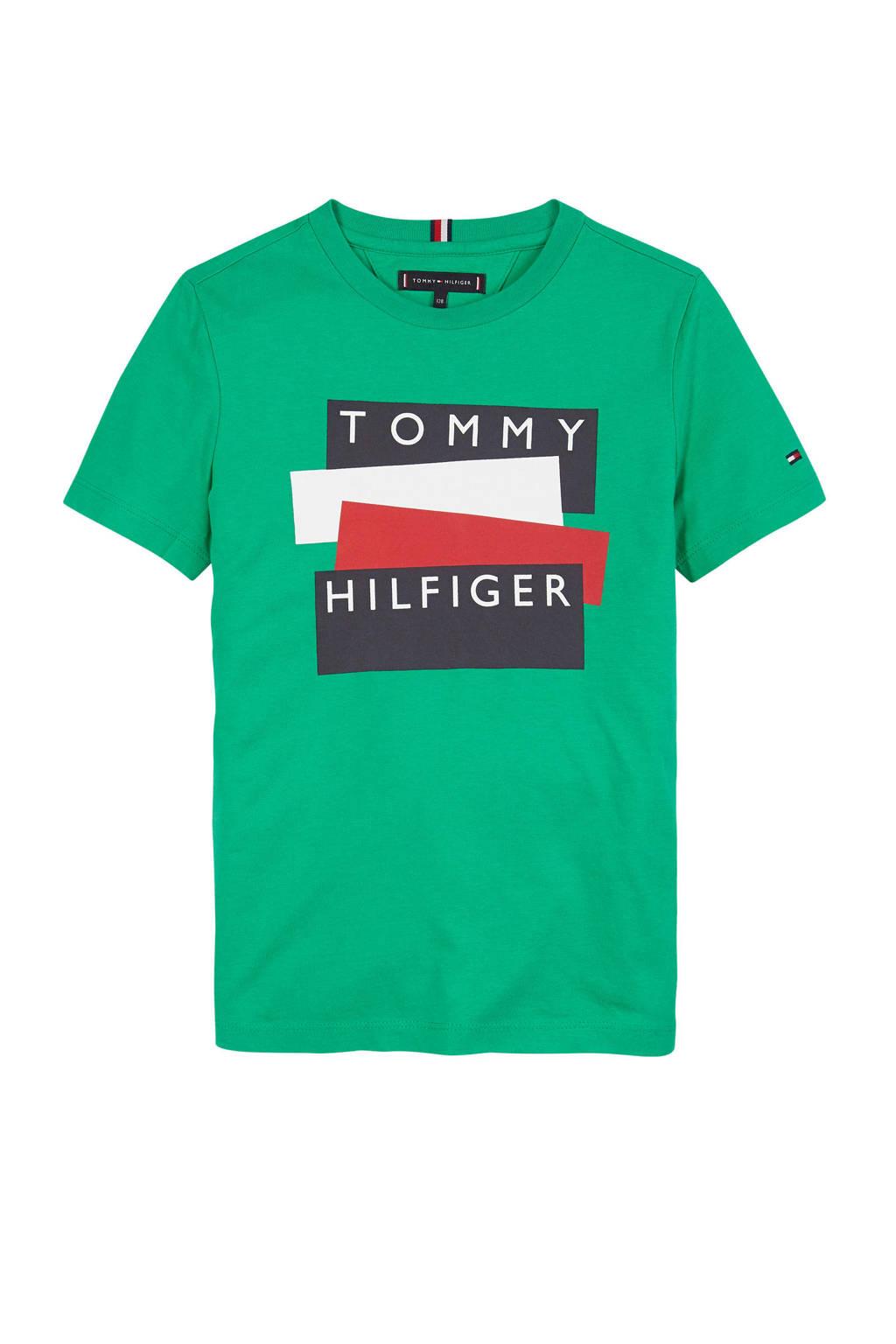 Tommy Hilfiger T-shirt met logo groen/donkerblauw/rood, Groen/donkerblauw/rood