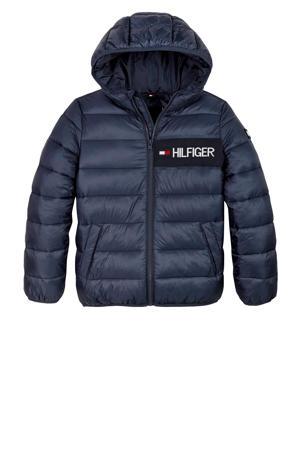 gewatteerde winterjas met logo donkerblauw