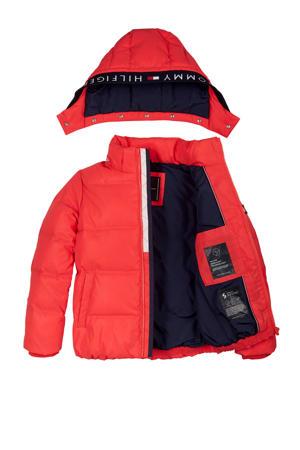 gewatteerde winterjas rood