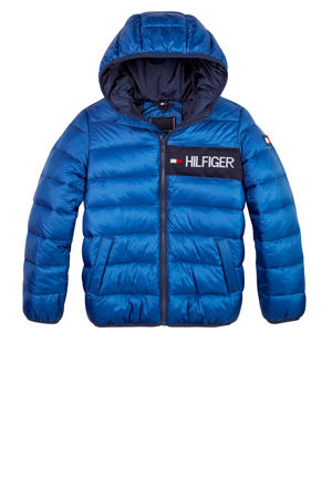 gewatteerde winterjas met logo blauw