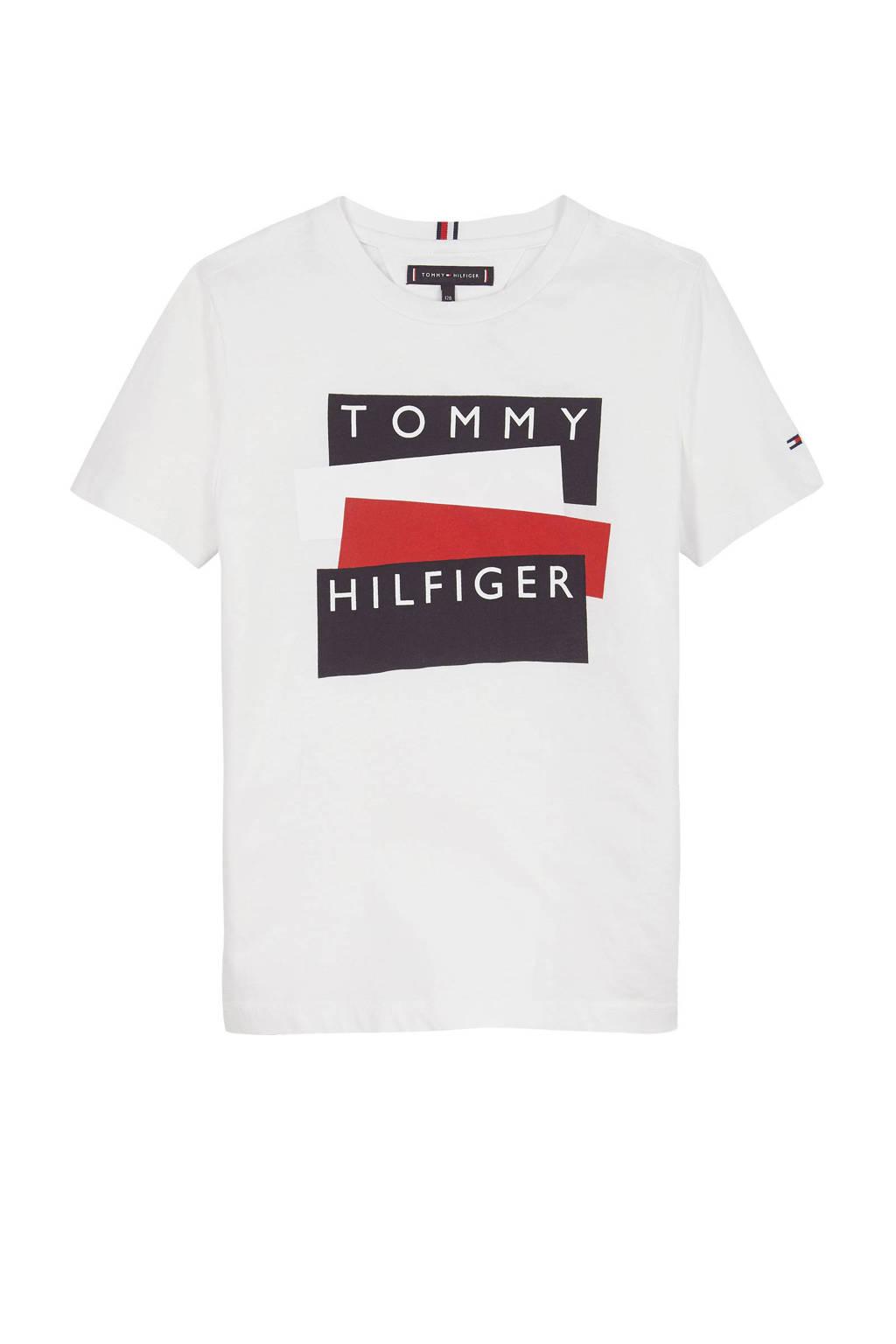 Tommy Hilfiger T-shirt met logo wit, Wit