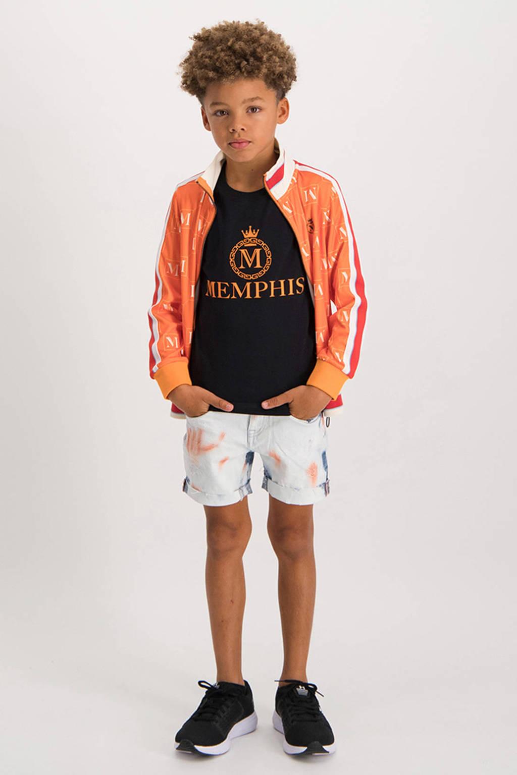 Vingino Memphis Depay vest Odessi met all over print oranje/offwhite, Oranje/offwhite