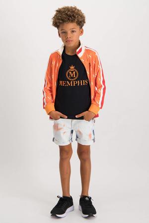 vest Odessi met all over print oranje/offwhite