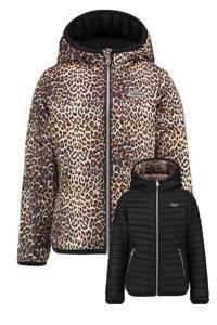 Vingino reversible gewatteerde jas Turien met panterprint bruin/zwart, Bruin/zwart