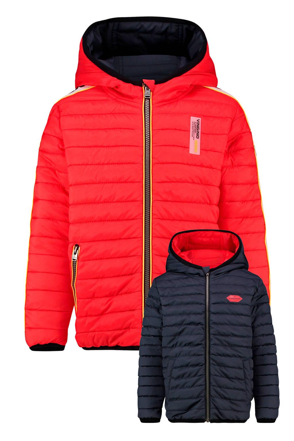 Vingino reversible gewatteerde winterjas Than rood/donkerblauw, Rood/donkerblauw