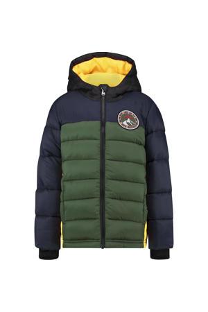 gewatteerde jas Talph groen/donkerblauw/fel oranje