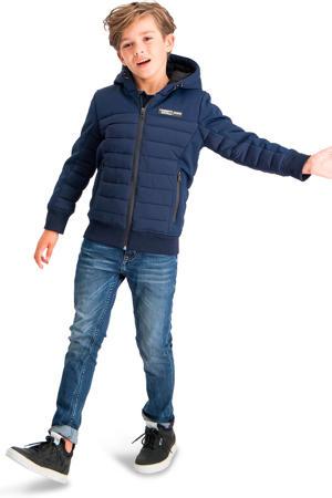 gewatteerde jas Tugra donkerblauw/oranje