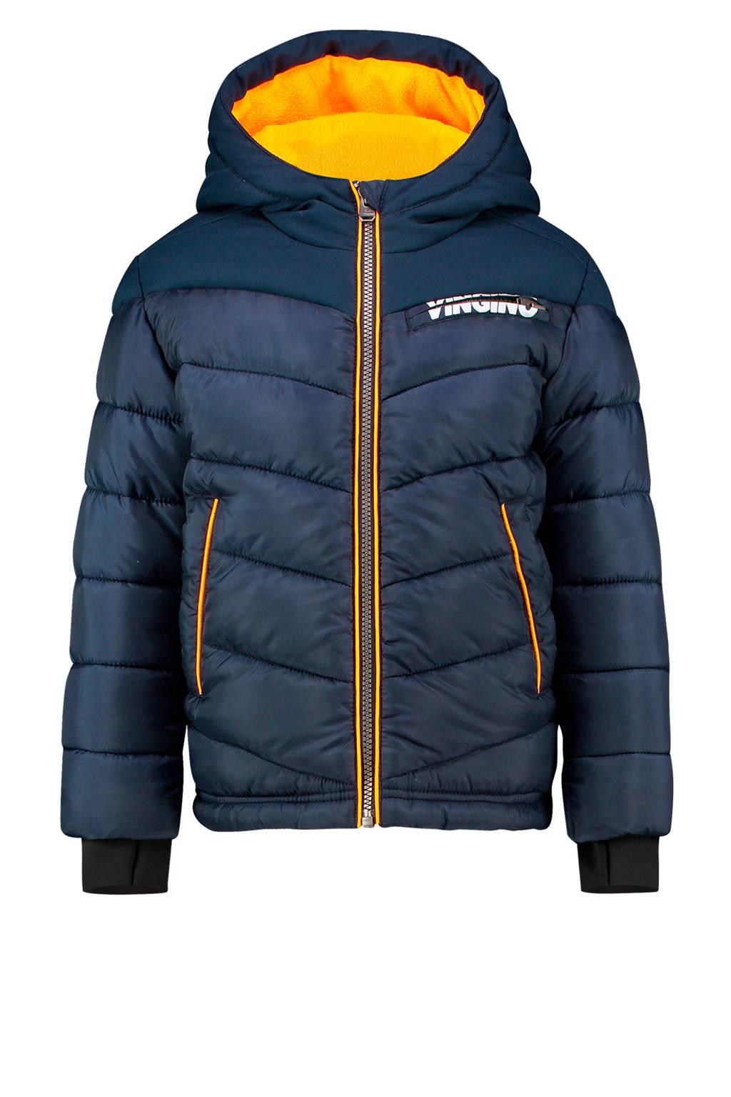 Vingino gewatteerde winterjas Tugra donkerblauw/oranje, Donkerblauw/oranje