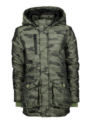 winter parka Ther met camouflageprint army groen