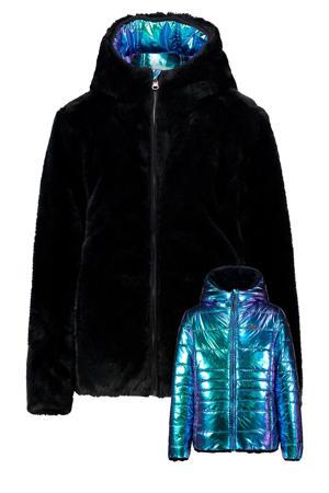 omkeerbare gewatteerde jas Thirma zwart/blauw