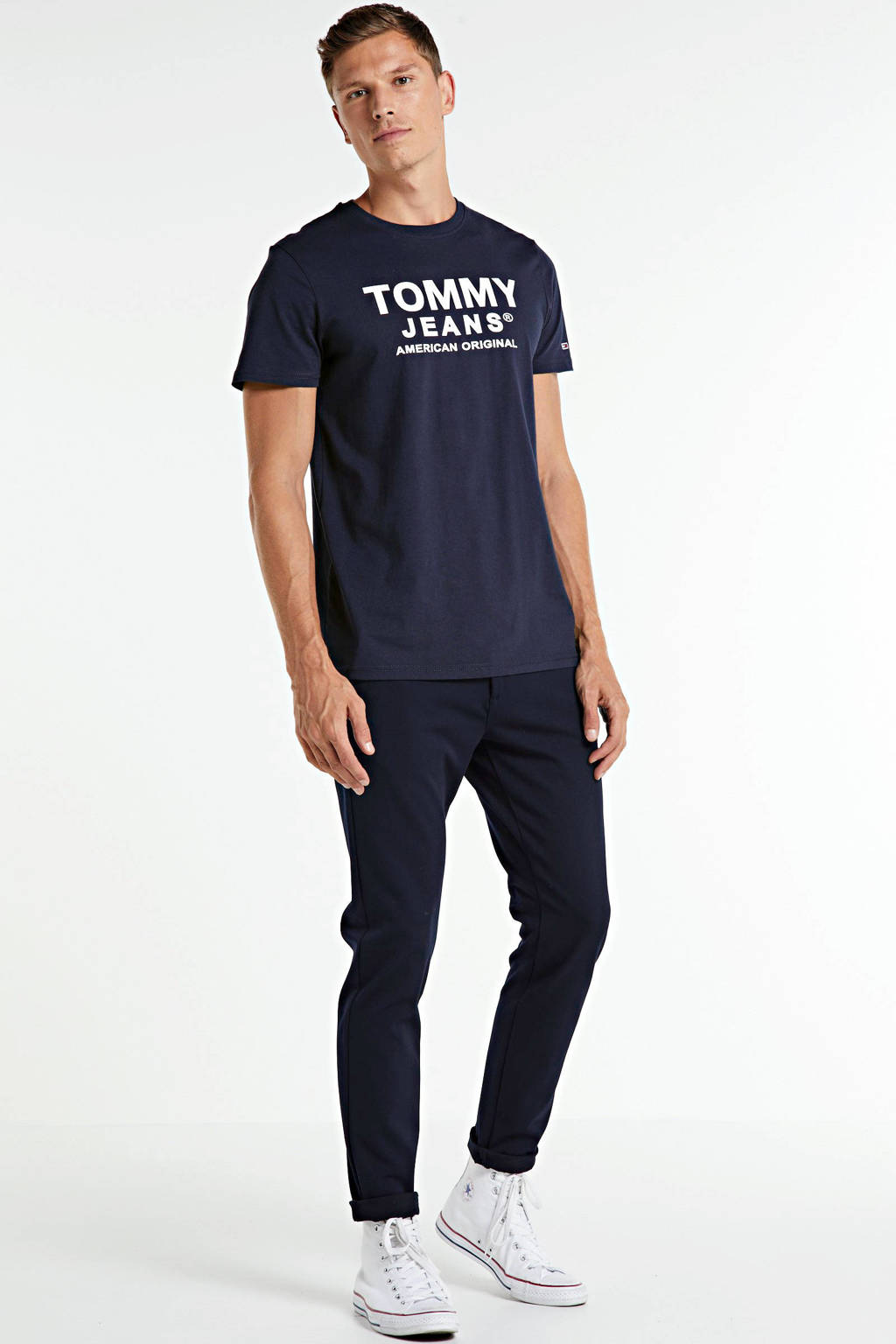 Tommy Jeans T-shirt met logo donkerblauw, Donkerblauw