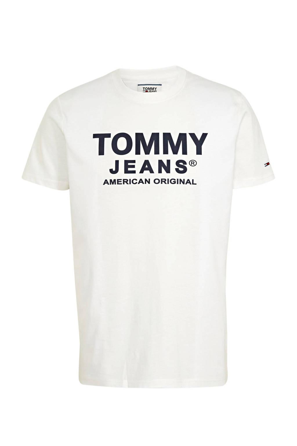 Tommy Jeans T-shirt met logo ecru, Ecru