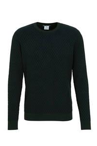 Blue Industry trui met textuur donkergroen, Donkergroen