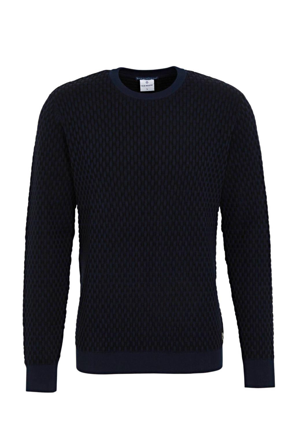 Blue Industry trui met textuur donkerblauw, Donkerblauw