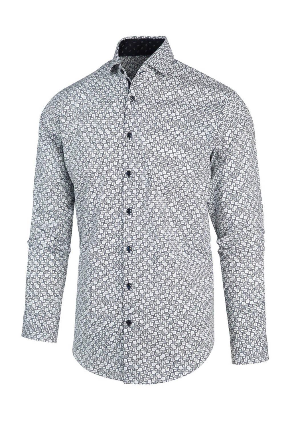 Blue Industry regular fit overhemd met all over print blauw/wit, Blauw/wit