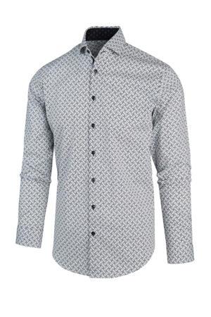 regular fit overhemd met all over print blauw/wit