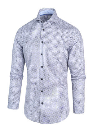 regular fit overhemd met all over print lichtblauw/donkerblauw