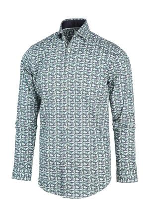 regular fit overhemd met all over print groen/wit