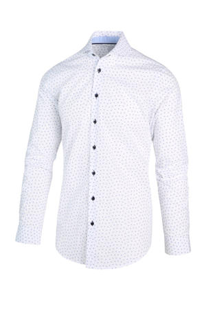 regular fit overhemd met all over print wit/lichtblauw