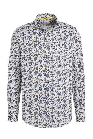 regular fit overhemd met all over print wit/blauw/grijs