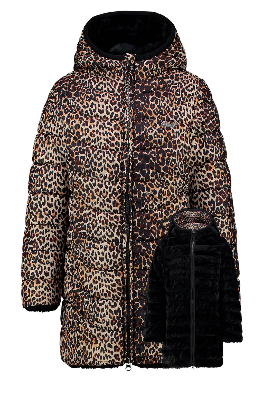 Vingino reversible gewatteerde winterjas Tilya met dierenprint zwart, Zwart