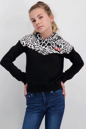 hoodie Lisha met panterprint zwart/wit