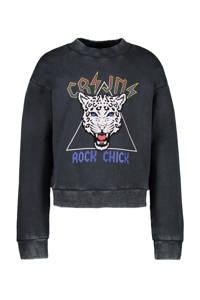 Cars sweater Roya met printopdruk verwassen zwart, Verwassen zwart