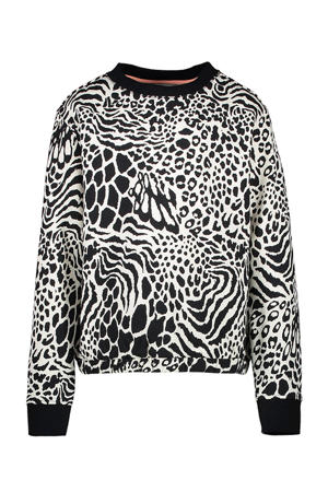 sweater Hira met dierenprint offwhite/zwart