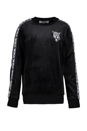 sweater Palara met contrastbies zwart