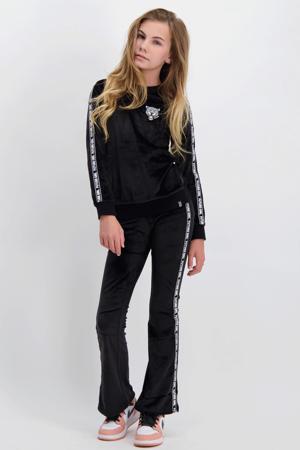 flared broek Lanaa met zijstreep zwart/wit