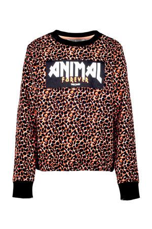 sweater Hira met panterprint bruin/zwart