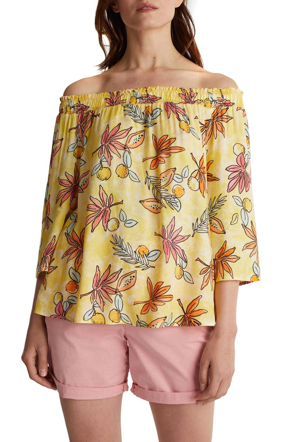 ESPRIT Women Casual off shoulder top met all over print geel/oranje, Geel/oranje