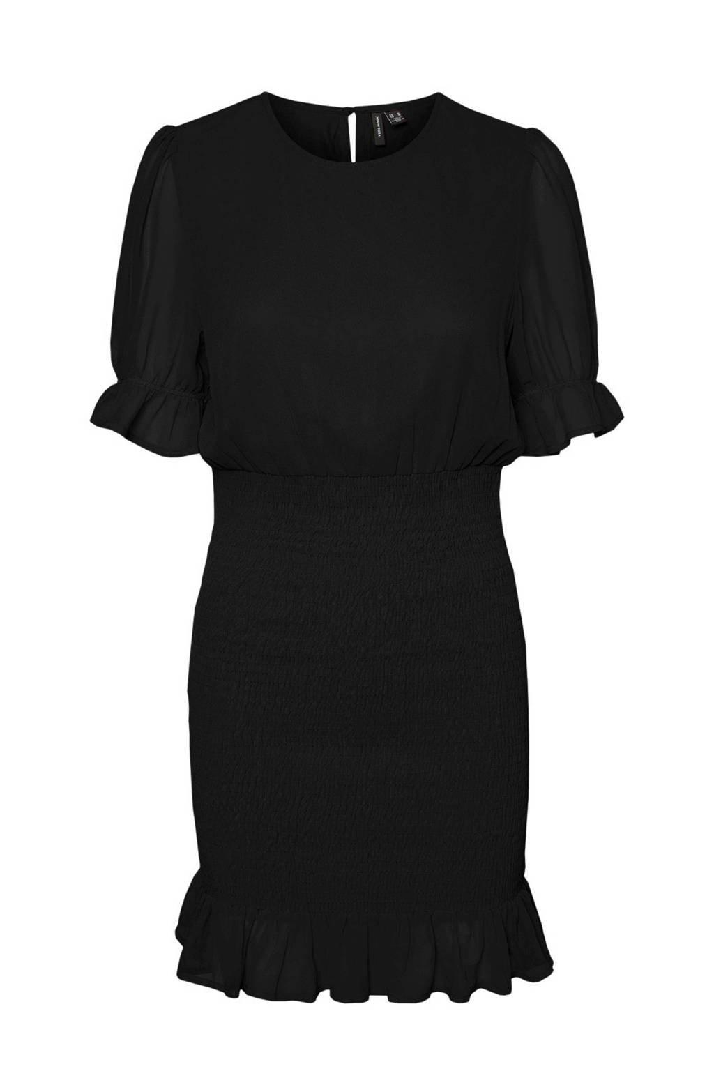VERO MODA semi-transparante mesh jurk met ruches zwart, Zwart