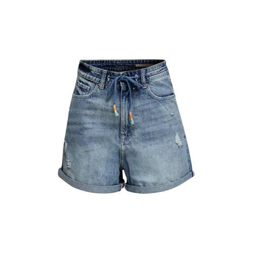 edc Women high waist jeans short blauw
