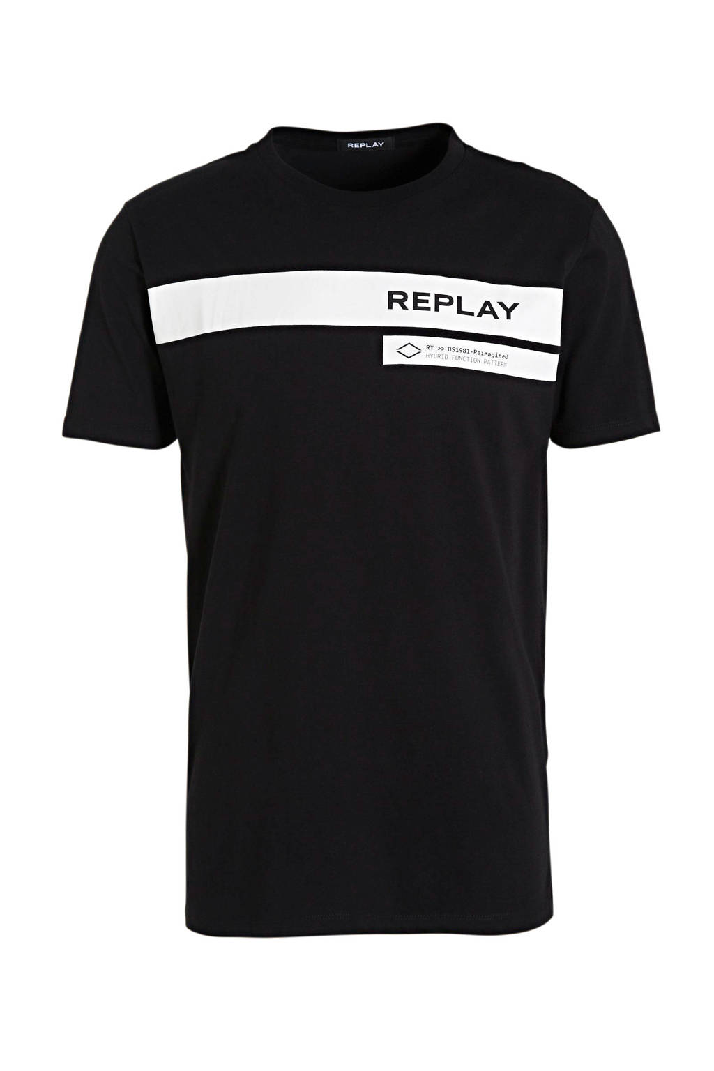 REPLAY T-shirt met logo zwart, Zwart