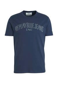 REPLAY T-shirt met logo marine, Marine