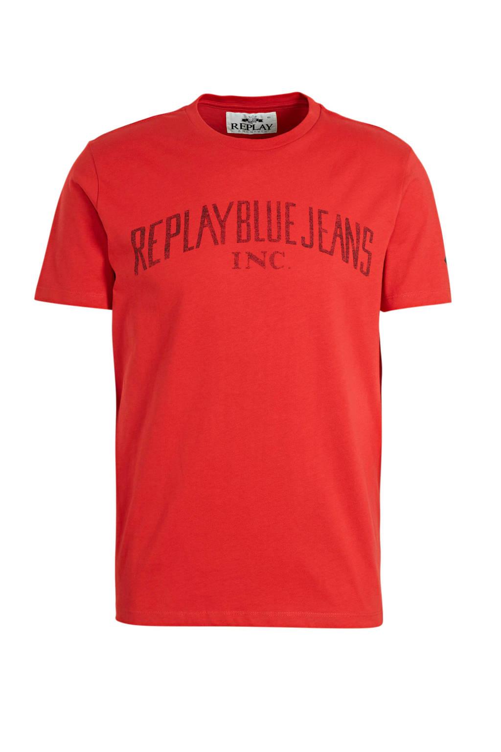 REPLAY T-shirt met logo rood, Rood
