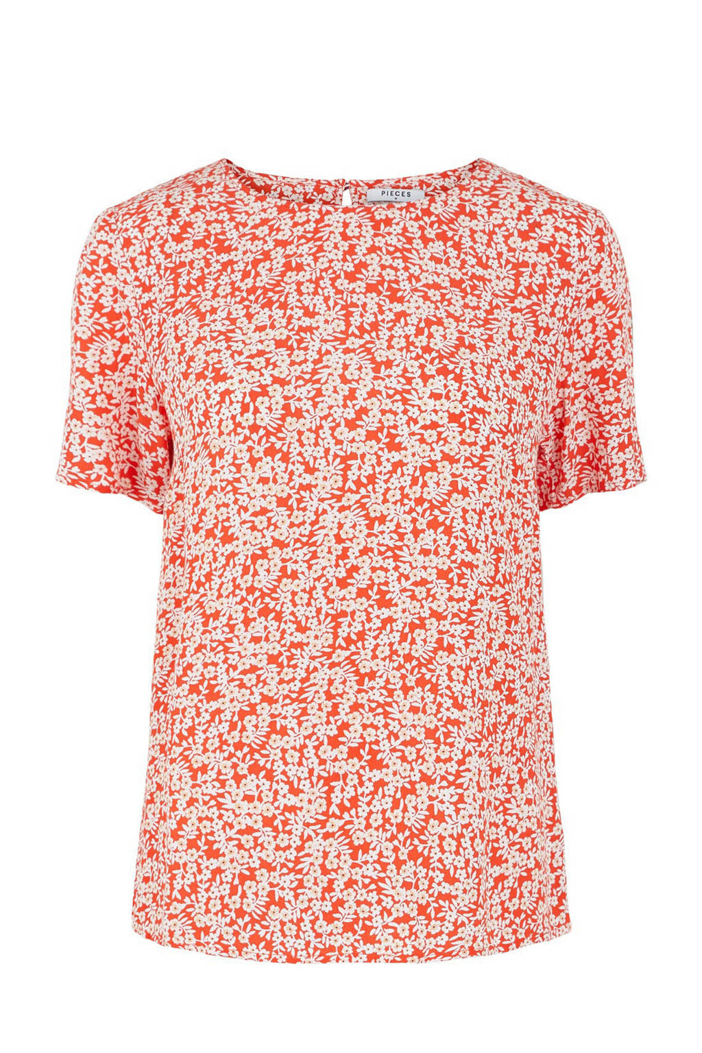 PIECES top met all over print rood, Rood