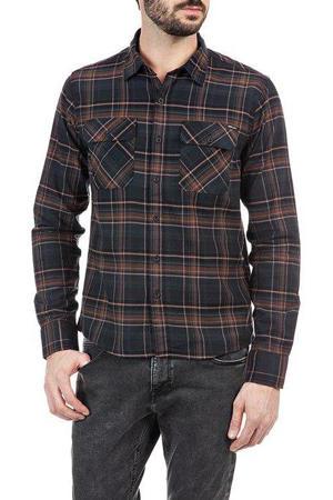 geruit regular fit overhemd antraciet