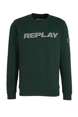 sweater met logo donkergroen/grijs