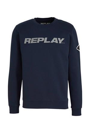 sweater met logo donkerblauw/grijs