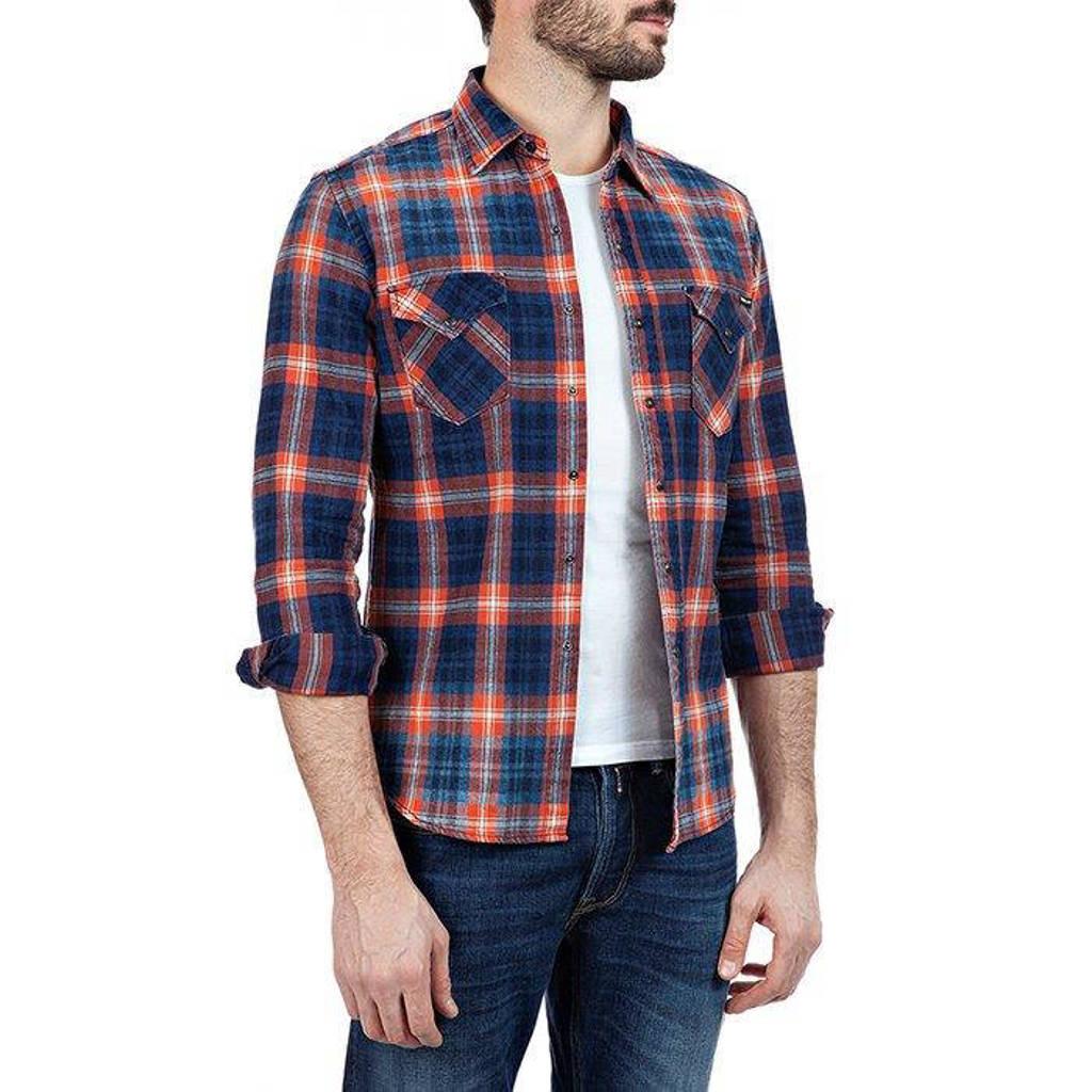 REPLAY geruit regular fit overhemd donkerblauw/oranje, Donkerblauw/oranje