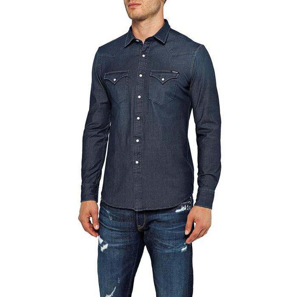 REPLAY slim fit overhemd dark denim, Dark denim