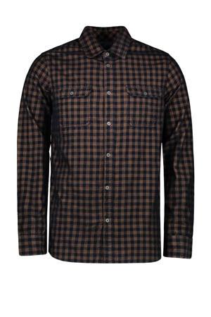 geruit regular fit overhemd Roymer donkerblauw