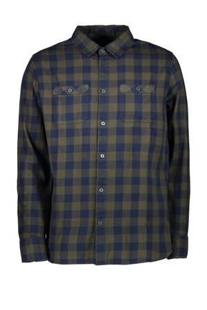 geruit regular fit overhemd Lumber kaki/marine